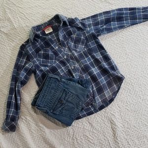 Boys HANNAH ANDERSON blue flannel button down 130
